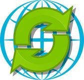 Glóbus a zelené šipky — Stock vektor