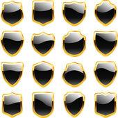 Vector shields for design. Black collection. — Stock Vector