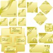 Set of gold corner ribbons for sale — Imagens vectoriais em stock