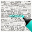 ADVERTISING. Highlighter over background with different association terms. - Stock Vector