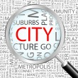 CITY. Magnifying glass over seamless background with different association terms. - Stock Vector
