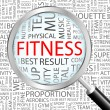 FITNESS. Magnifying glass over background with different association terms. - Stock Vector