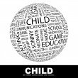 Vector de stock : CHILD. Globe with different association terms.