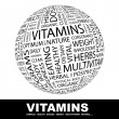 Stock Vector: VITAMINS. Globe with different association terms.
