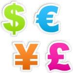 Vector dollar, euro, yen and pound signs. — Stock Vector