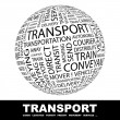 TRANSPORT. Globe with different association terms. — Vetorial Stock #7163736
