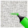 CINEMA. Highlighter over background with different association terms. - Stock Vector