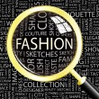 FASHION. Magnifying glass over seamless background with different association terms. - Stock Vector