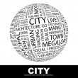 CITY. Word collage on white background. — ストックベクタ