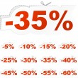 Discount sticker templates with different percentages — Stok Vektör