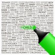 CHILD. Highlighter over background with different association terms. — 图库矢量图片 #7165527