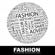 FASHION. Globe with different association terms. - Stock Vector