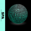 Royalty-Free Stock Vector Image: SPA. Globe with different association terms.