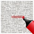 CHRISTMAS. Highlighter over background with different association terms. - Stock Vector