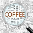 COFFEE. Magnifying glass over seamless background - Grafika wektorowa