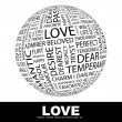 LOVE. Globe with different association terms. - Stock Vector
