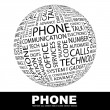 Stock Vector: PHONE. Word collage on white background.