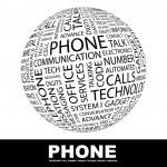 telefone. palavra colagem sobre fundo branco — Vetorial Stock