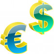 Vector dollar and euro signs.  — Stock Vector