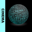 CINEMA. Globe with different association terms. — Stock Vector