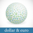 Globe with dollar and euro signs. — Stock Vector