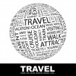 TRAVEL. Globe with different association terms. — Stock Vector