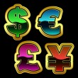 Vector dollar, euro, yen and pound signs. - Imagen vectorial