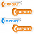 Import and export sticker set. — Stock Vector