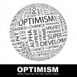 OPTIMISM. Word collage on white background. — 图库矢量图片