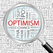 Vector de stock : OPTIMISM. Magnifying glass over background with different association terms.