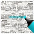 PHOTOGRAPHY. Highlighter over background with different association terms. — Stock Vector