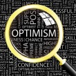 Cтоковый вектор: OPTIMISM. Magnifying glass over background with different association terms.
