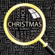 CHRISTMAS. Magnifying glass over background with different association terms. — Stock Vector