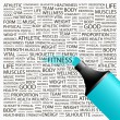 Fitness. Highlighter over background with different association terms. - Stockvektor