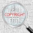 COPYRIGHT. Magnifying glass over background with different association terms. - Stock Vector