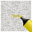 THEATRE. Highlighter over background with different association terms. - Stockvektor
