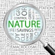 NATURE. Magnifying glass over seamless background with different association terms. - Stockvektor