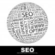 SEO. Word collage. Globe with different association terms. - Stockvektor