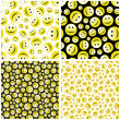 Seamless pattern with smile face. - Stok Vektör