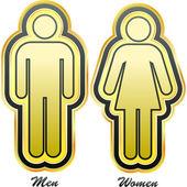 Symboler för män och kvinnor. grafiska element set. — Stockvektor