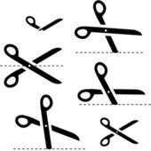 Vector scissors with cut lines — Stock Vector