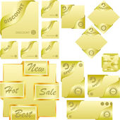 Set of gold corner ribbons for sale — Stock Vector