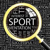 Sport. lente di ingrandimento su sfondo con termini differenti associazione. — Vettoriale Stock