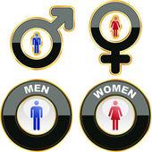 Muži a ženy ikony. grafické prvky sada. — Stock vektor