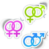 Male and female sticker set. — Stock Vector