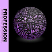 PROFESSION. Globe with different association terms. — Vetorial Stock