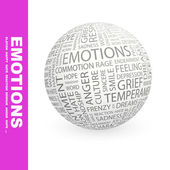 EMOTIONS. Globe with different association terms. — Stock Vector