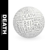DEATH. Globe with different association terms. — Stock Vector