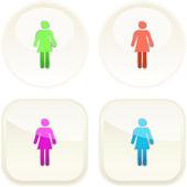 Kvinnliga knappen. vektor set. — Stockvektor