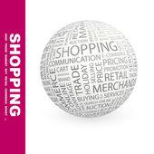 ショッピング。世界中の異なる関連用語. — ストックベクタ